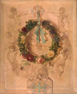 Angel Group with Flower Garland (dessus de porte) | Charles Rochussen | Oil Painting