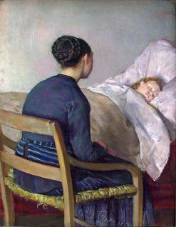 Mother at Her Child's Bed   Christian Krohg   Oil Painting