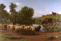 The Shepherd and His Flock | Auguste Bonheur | Oil Painting