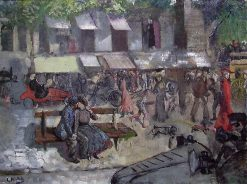 Scene from a Street in Paris   Christian Krohg   Oil Painting