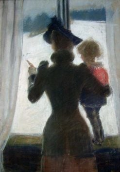 Oda and Per at the Window   Christian Krohg   Oil Painting