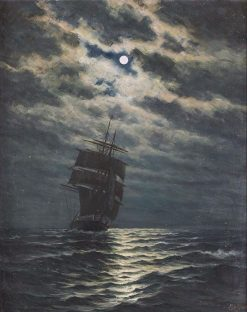 Ship in the Moonlight | Martin Aaraard | Oil Painting