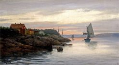 Setting Sail from the Fjords at Sunset | Martin Aaraard | Oil Painting
