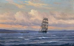 Sailboat And Steamship | Martin Aaraard | Oil Painting