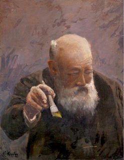 Self-Portrait with Brush   Christian Krohg   Oil Painting