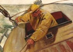 A Fisherman in Yellow Rainwear in His Boat | Christian Krohg | Oil Painting