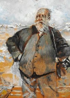 Self-Portrait on a Windy Day near the Sea   Christian Krohg   Oil Painting