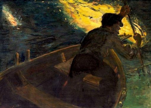 Eel Catcher at Night | Christian Krohg | Oil Painting