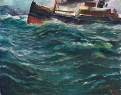 Ship in Stormy Weather   Christian Krohg   Oil Painting