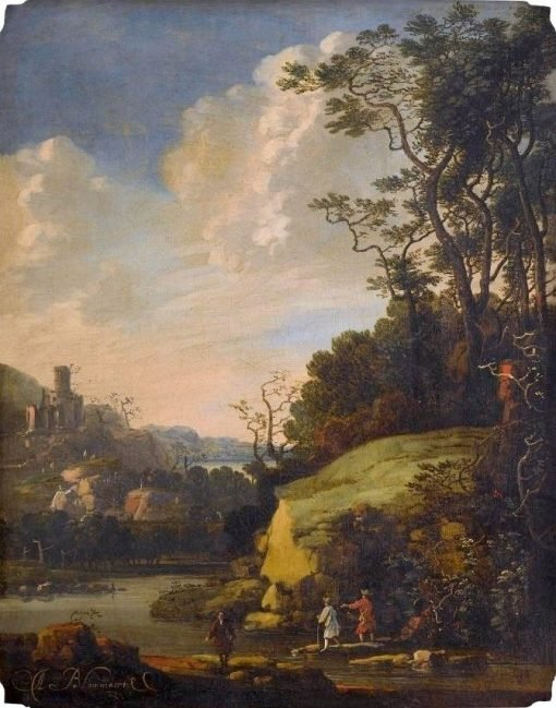 Hilly Landscape with Figures by a River   Abraham Bloemaert   Oil Painting
