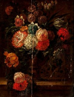 Flowers in a Footed Vase on a Ledge | Abraham Mignon | Oil Painting