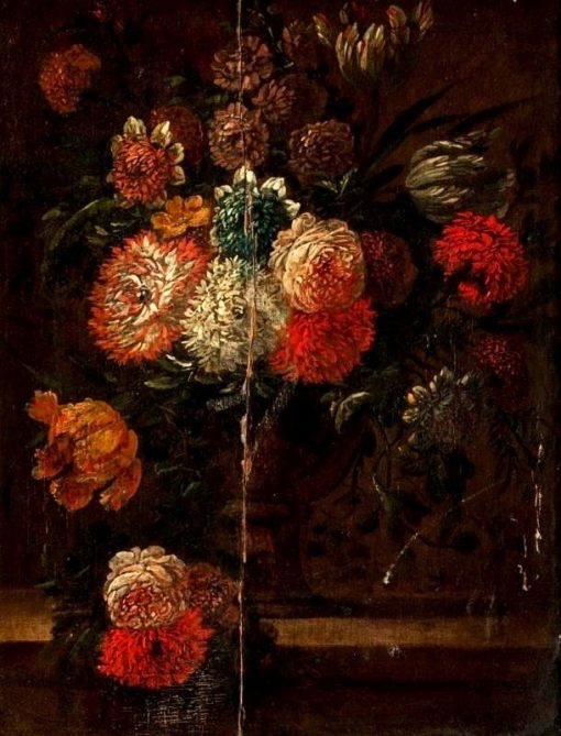 Flowers in a Footed Vase on a Ledge   Abraham Mignon   Oil Painting