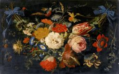 A Hanging Garland of Flowers and Fruit.... | Abraham Mignon | Oil Painting