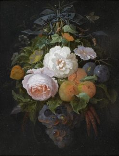 Hanging Floral Arrangement with Grapes and Plums | Abraham Mignon | Oil Painting