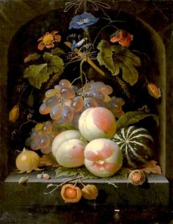 Still life of fruits and flowers with grapes