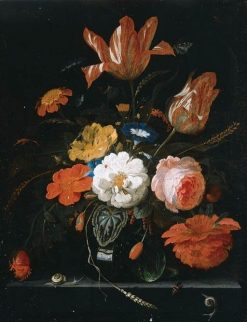 Flowers and Ears of Wheat in a glass Vase with Snails and a Butterfly on a stone Ledge | Abraham Mignon | Oil Painting