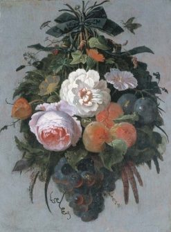A swag of fruit and flowers hanging from a nail | Abraham Mignon | Oil Painting