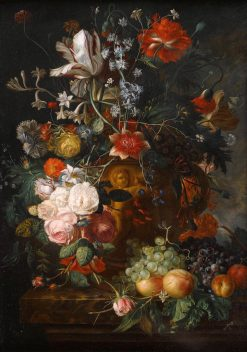 A Still Life of Flowers in a Terracotta Vase on a Ledge | Amalie Kaercher | Oil Painting