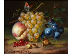 Fruit Still Life with Insects and Hazelnuts | Amalie Kaercher | Oil Painting