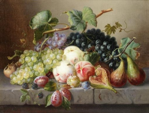 Still Life with Fruit and Insects on a Marble Ledge | Amalie Kaercher | Oil Painting