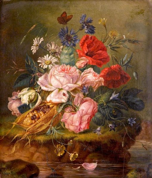 Still Life of Mixed Flowers and Insects on a Mossy Bank | Amalie Kaercher | Oil Painting