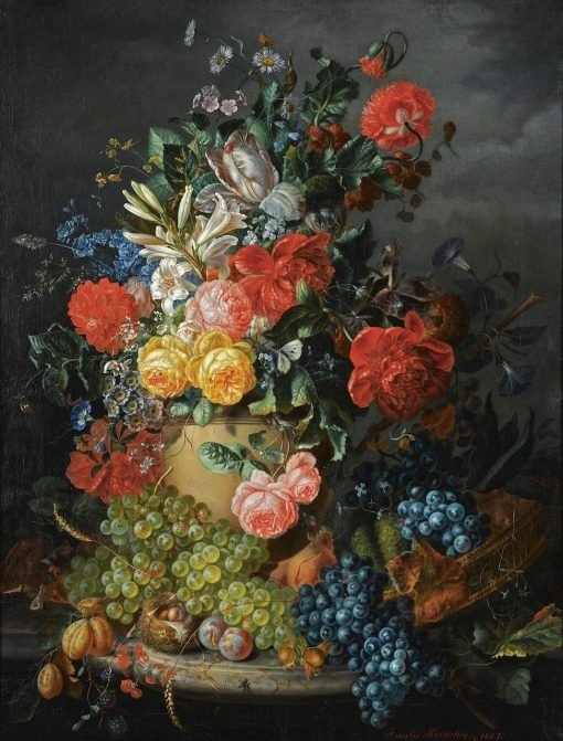 A Flower Still Life with Grapes | Amalie Kaercher | Oil Painting