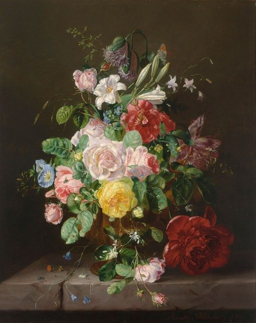 A Flower Still Life with Roses | Amalie Kaercher | Oil Painting