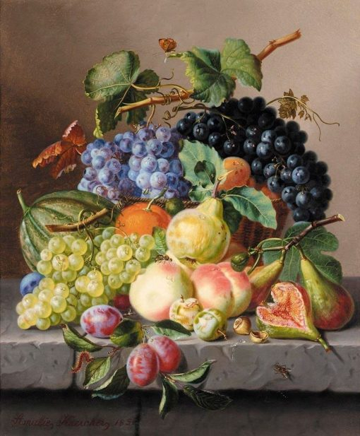 Grapes and Other Fruit on a Ledge | Amalie Kaercher | Oil Painting