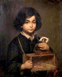 A Boy with a Guinea Pig on it's Cage | Wally (Walburga Wilhelmina Moes | Oil Painting