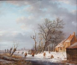A Dutch Winter Landscape with Figures and Skaters near a Farm | Andreas Schelfhout | Oil Painting