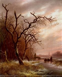 Evening Winter Scene with Skaters | Andreas Schelfhout | Oil Painting