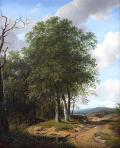 Hunters in a Wooded Landscape | Andreas Schelfhout | Oil Painting