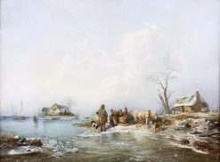 Entertainment on Sleigh on a Frozen Lake | Andreas Schelfhout | Oil Painting