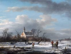Activity on the Ice near a Manor House | Andreas Schelfhout | Oil Painting