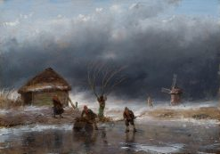 Dutch Icescape with Skating Figures during an Upcoming Storm | Andreas Schelfhout | Oil Painting