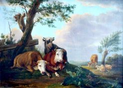 Animal Scene with Cows and Sheep | Eugene Verboeckhoven | Oil Painting