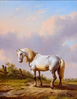 White Horse in a Wide Landscape | Eugene Verboeckhoven | Oil Painting
