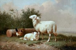 A Pastoral Scene with Sheep and a Chicken | Eugene Verboeckhoven | Oil Painting