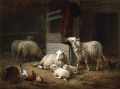 A Barn Interior with Ewes | Eugene Verboeckhoven | Oil Painting