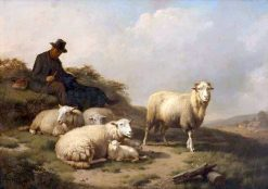 A Resting Shepherd with His Herd | Eugene Verboeckhoven | Oil Painting