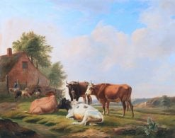 Animals with Shepherds in a Vast Landscape | Eugene Verboeckhoven | Oil Painting