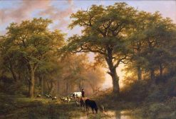 A Summer Landscape with Cattle   Eugene Verboeckhoven   Oil Painting