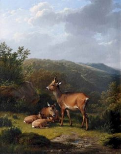 A Family of Deer Resting | Eugene Verboeckhoven | Oil Painting