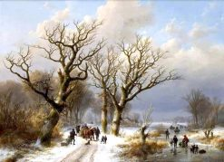 A Winter Landscape with Numerous Figures on the Ice | Eugene Verboeckhoven | Oil Painting