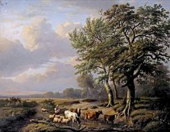 A landscape with a shepherdess and her flock resting near a stream | Eugene Verboeckhoven | Oil Painting
