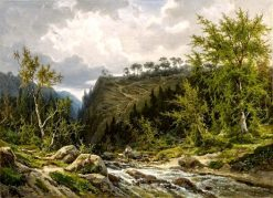 Mountain Stream in the Alps | Franz Richard Unterberger | Oil Painting