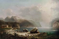 Fishermen at the Hardangerfjord in Norway | Franz Richard Unterberger | Oil Painting