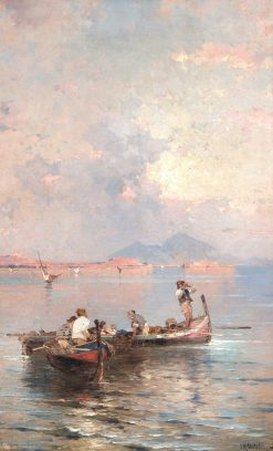 Fishermen in the Bay of Naples | Franz Richard Unterberger | Oil Painting