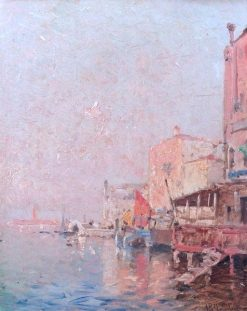 A Quay in Venice - a study | Franz Richard Unterberger | Oil Painting
