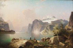 Lake Lucerne with a view of the Uri Rotstock | Franz Richard Unterberger | Oil Painting
